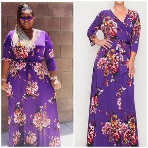 New Purple Floral Faux Wrap Maxi Dress